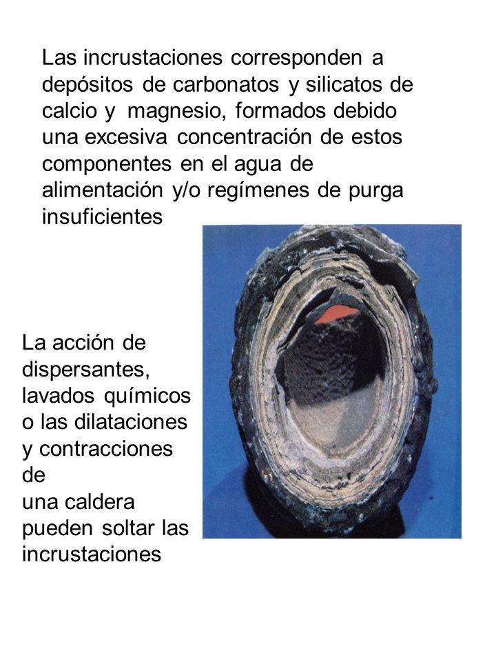 Las incrustaciones corresponden a depósitos de carbonatos y silicatos de calcio y magnesio, formados debido una excesiva concentración de estos componentes en el agua de alimentación y/o regímenes de purga insuficientes