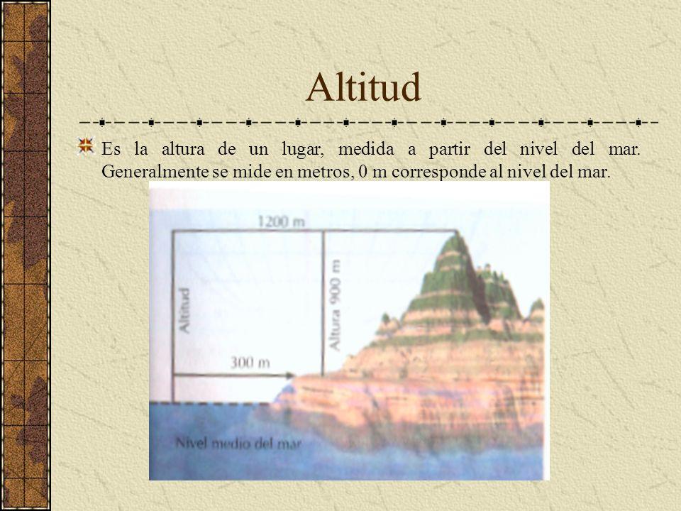 AltitudEs la altura de un lugar, medida a partir del nivel del mar.