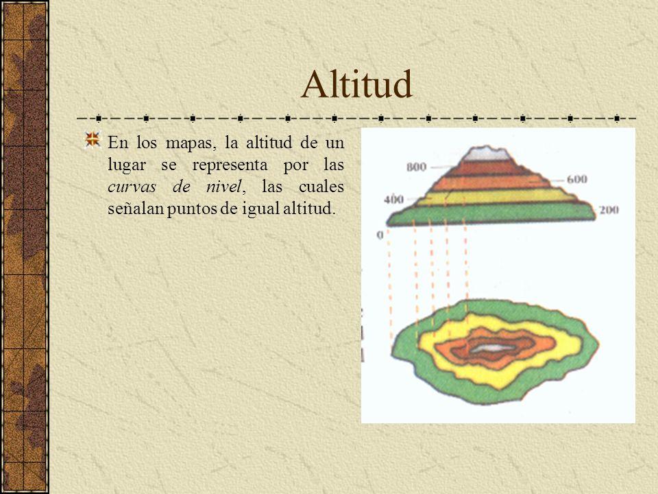 AltitudEn los mapas, la altitud de un lugar se representa por las curvas de nivel, las cuales señalan puntos de igual altitud.