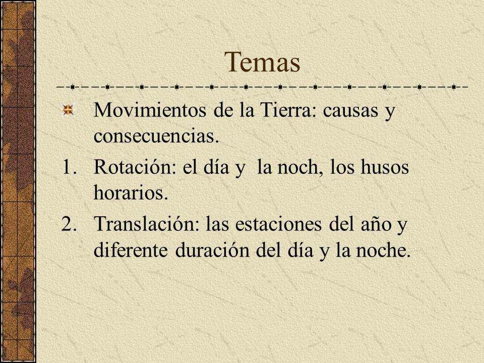 Temas Movimientos de la Tierra: causas y consecuencias.