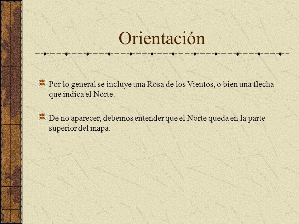 OrientaciónPor lo general se incluye una Rosa de los Vientos, o bien una flecha que indica el Norte.