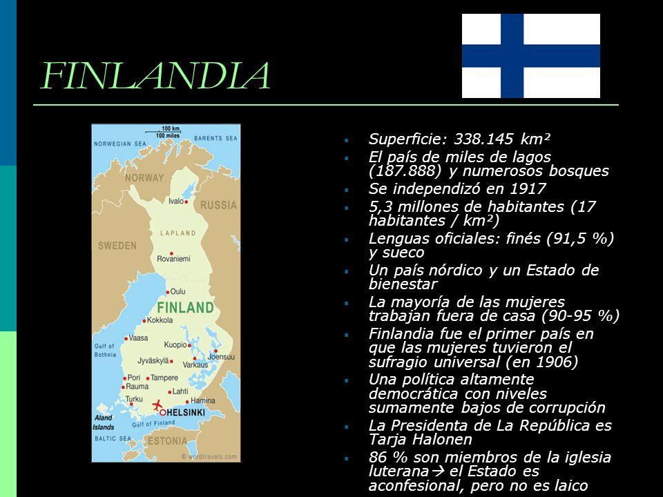 FINLANDIA Superficie: 338.145 km²