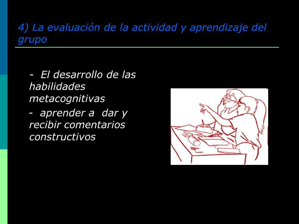 4) La evaluación de la actividad y aprendizaje del grupo