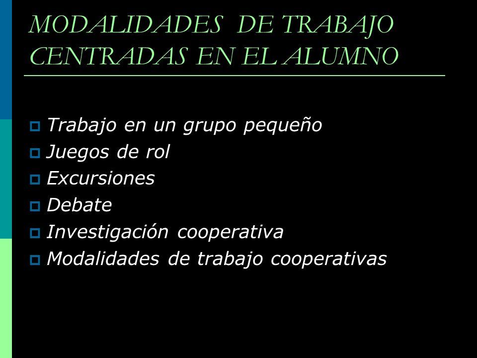 MODALIDADES DE TRABAJO CENTRADAS EN EL ALUMNO