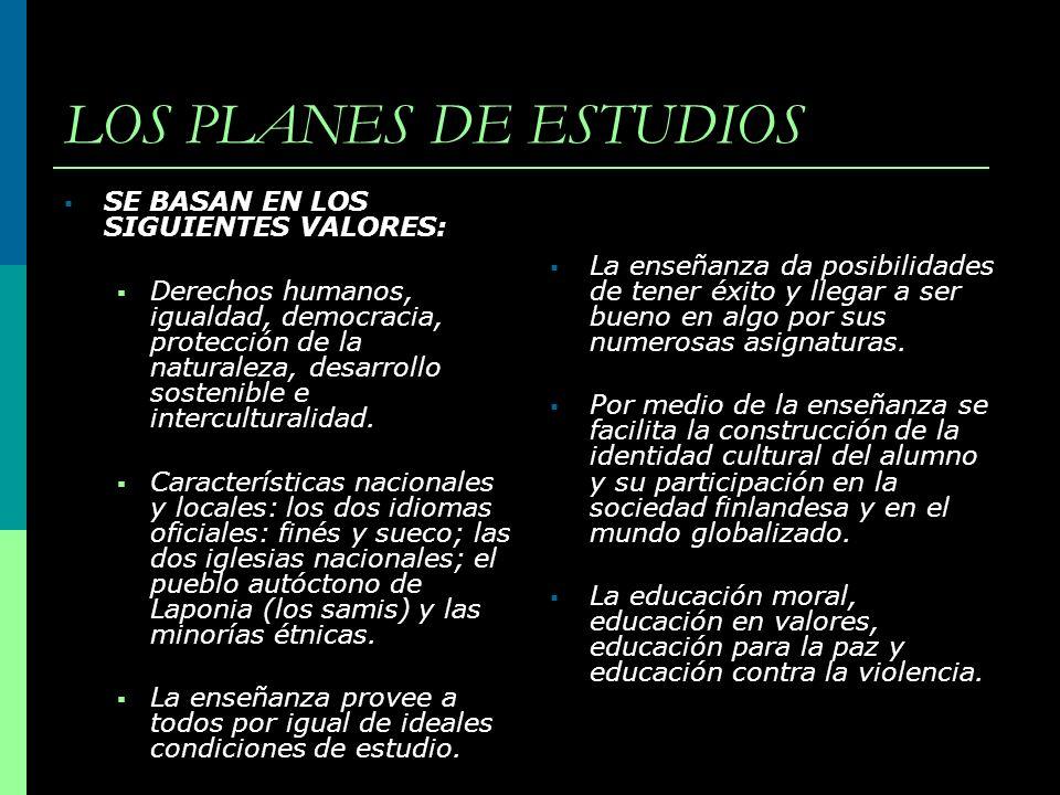 LOS PLANES DE ESTUDIOS SE BASAN EN LOS SIGUIENTES VALORES: