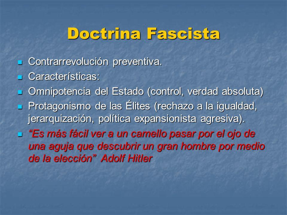 Doctrina Fascista Contrarrevolución preventiva. Características:
