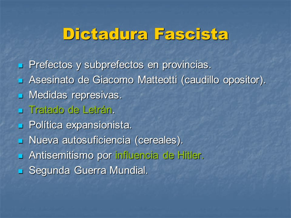 Dictadura Fascista Prefectos y subprefectos en provincias.