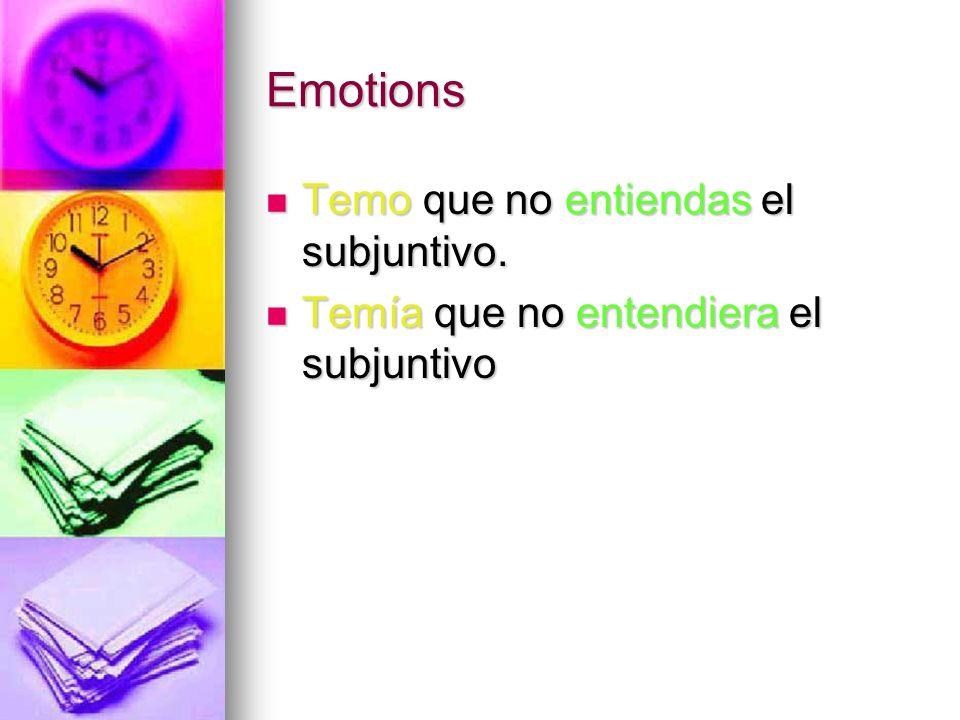 Emotions Temo que no entiendas el subjuntivo.