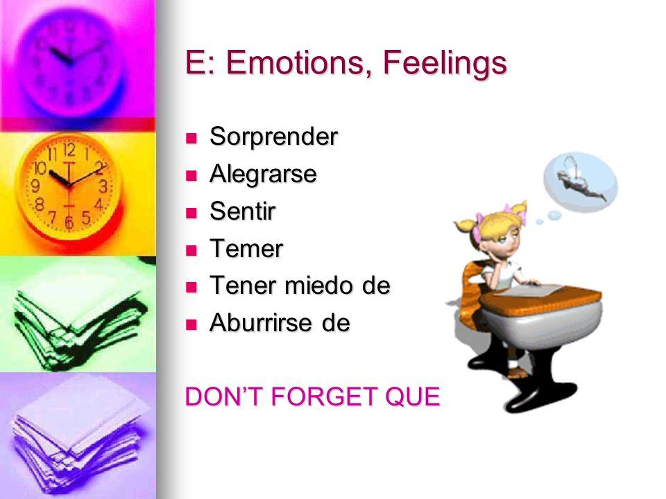 E: Emotions, Feelings Sorprender Alegrarse Sentir Temer Tener miedo de