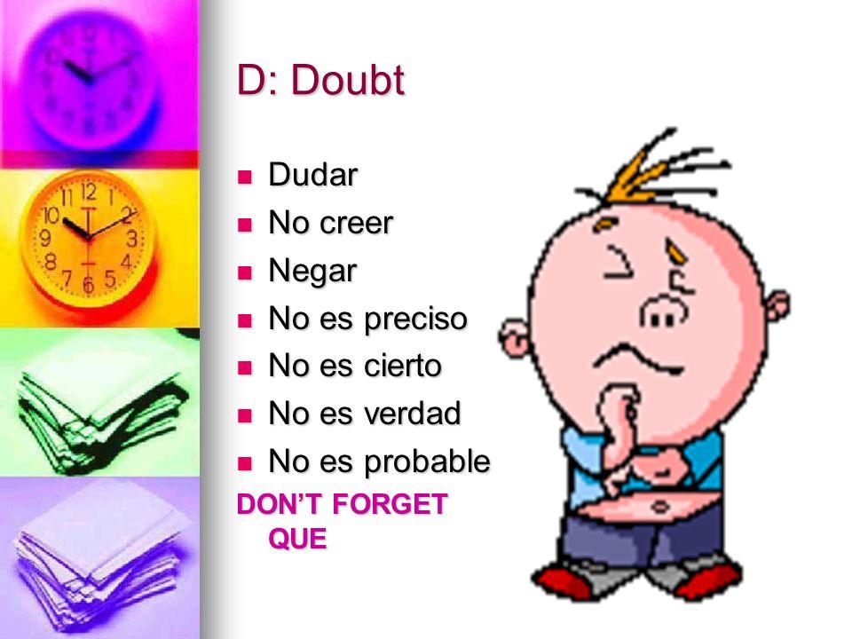 D: Doubt Dudar No creer Negar No es preciso No es cierto No es verdad