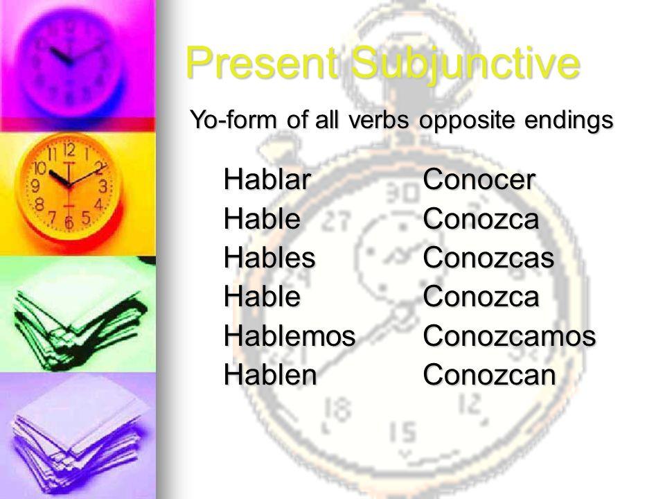 Present Subjunctive Hablar Hable Hables Hablemos Hablen Conocer