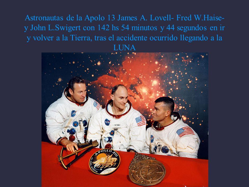 Astronautas de la Apolo 13 James A. Lovell- Fred W. Haise- y John L