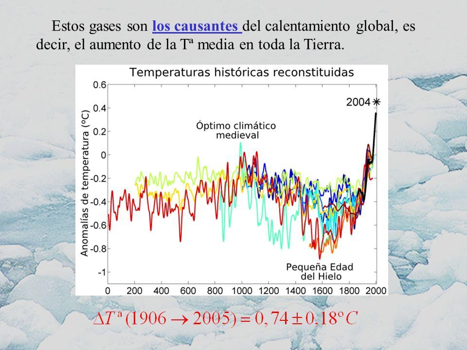 Estos gases son los causantes del calentamiento global, es decir, el aumento de la Tª media en toda la Tierra.