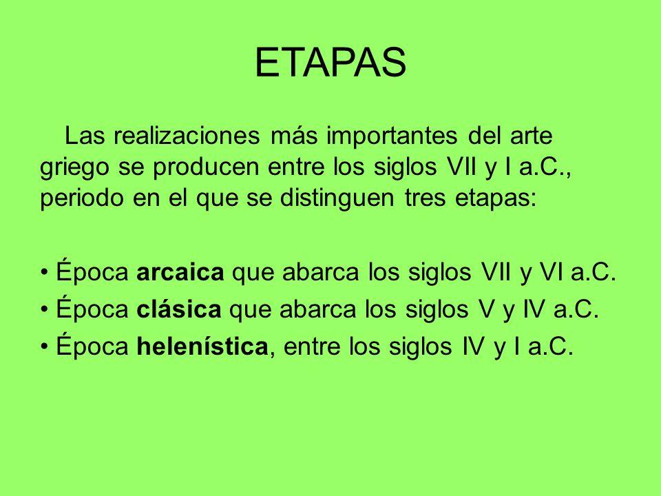 ETAPASLas realizaciones más importantes del arte griego se producen entre los siglos VII y I a.C., periodo en el que se distinguen tres etapas: