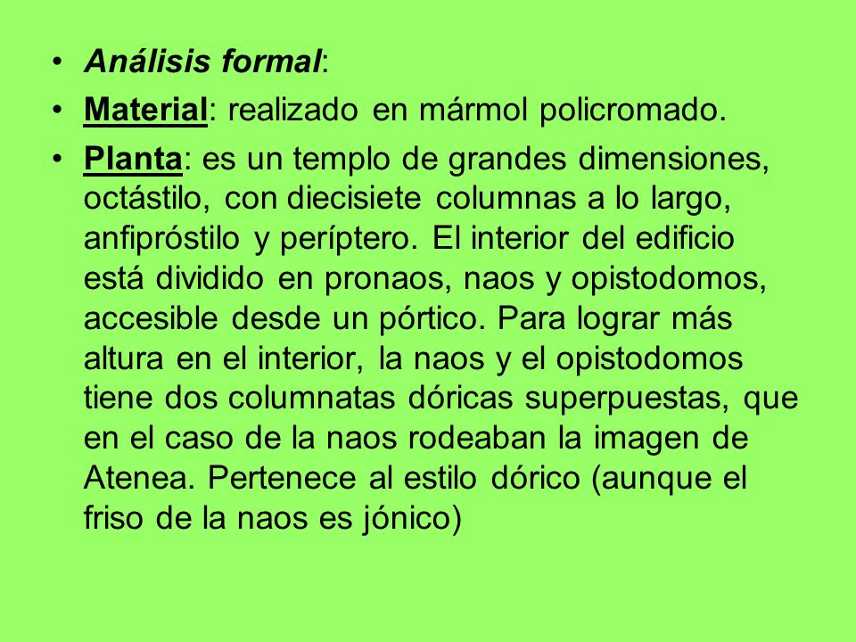Análisis formal: Material: realizado en mármol policromado.