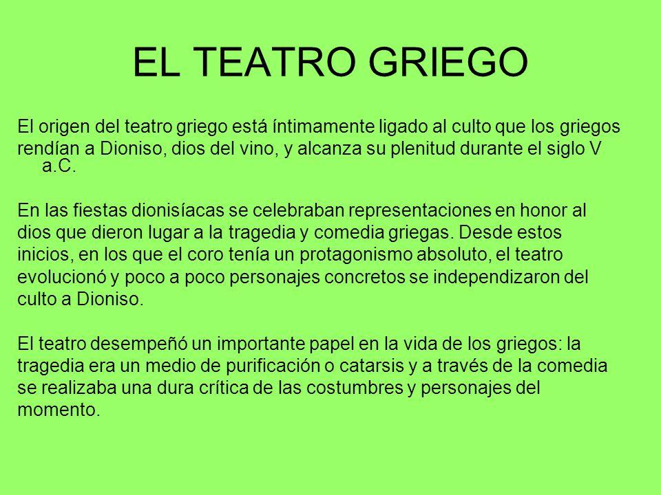 EL TEATRO GRIEGO El origen del teatro griego está íntimamente ligado al culto que los griegos.