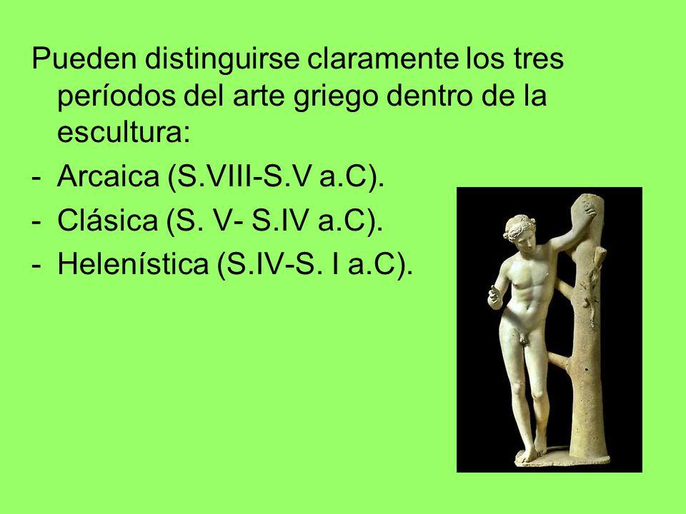 Pueden distinguirse claramente los tres períodos del arte griego dentro de la escultura: