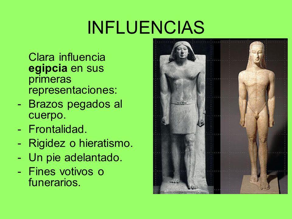 INFLUENCIAS Clara influencia egipcia en sus primeras representaciones: