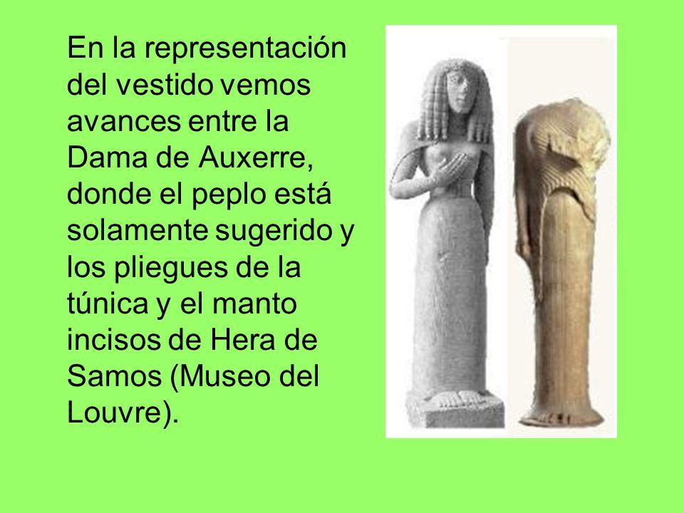 En la representación del vestido vemos avances entre la Dama de Auxerre, donde el peplo está solamente sugerido y los pliegues de la túnica y el manto incisos de Hera de Samos (Museo del Louvre).