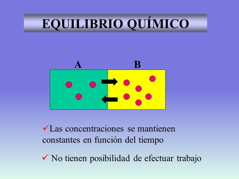 EQUILIBRIO QUÍMICO A. B. Las concentraciones se mantienen constantes en función del tiempo.