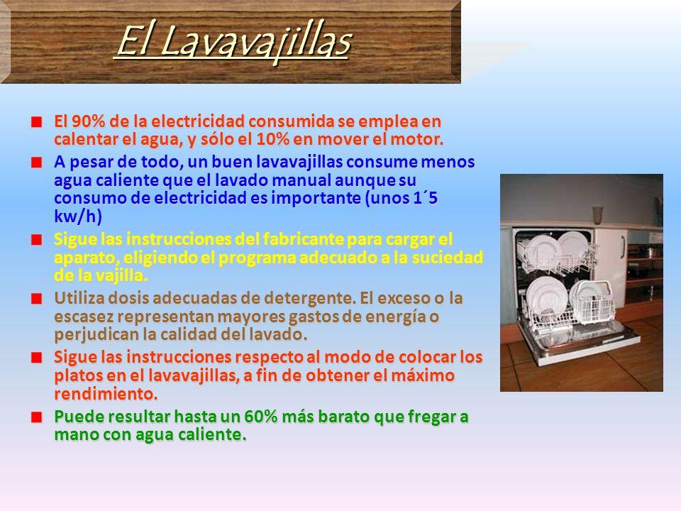 El LavavajillasEl 90% de la electricidad consumida se emplea en calentar el agua, y sólo el 10% en mover el motor.