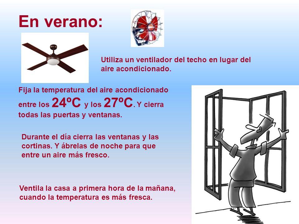 En verano:Utiliza un ventilador del techo en lugar del aire acondicionado.