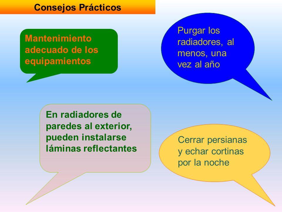 Consejos PrácticosPurgar los radiadores, al menos, una vez al año. Mantenimiento adecuado de los equipamientos.