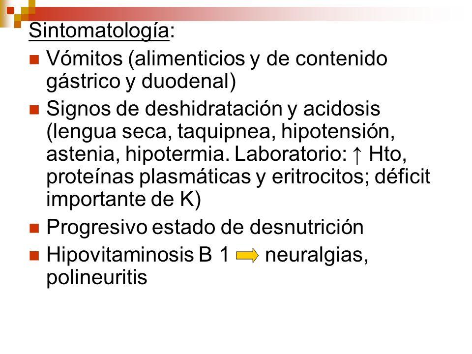 Sintomatología:Vómitos (alimenticios y de contenido gástrico y duodenal)