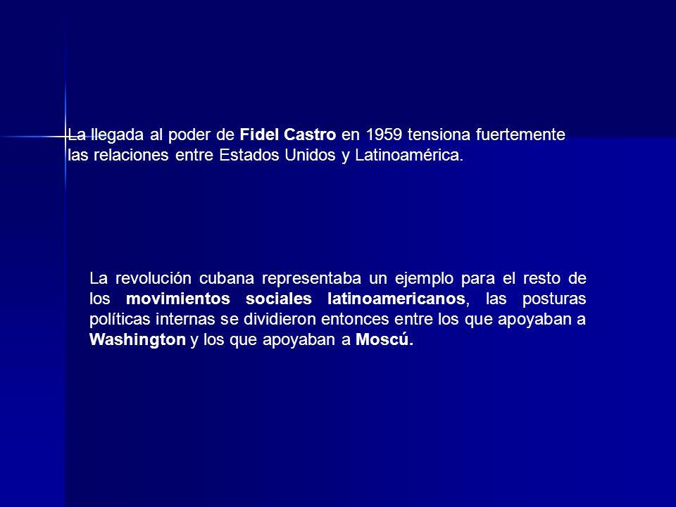 La llegada al poder de Fidel Castro en 1959 tensiona fuertemente las relaciones entre Estados Unidos y Latinoamérica.