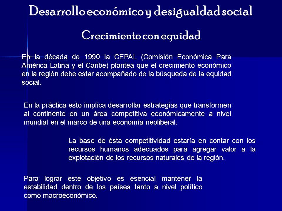 Desarrollo económico y desigualdad social Crecimiento con equidad