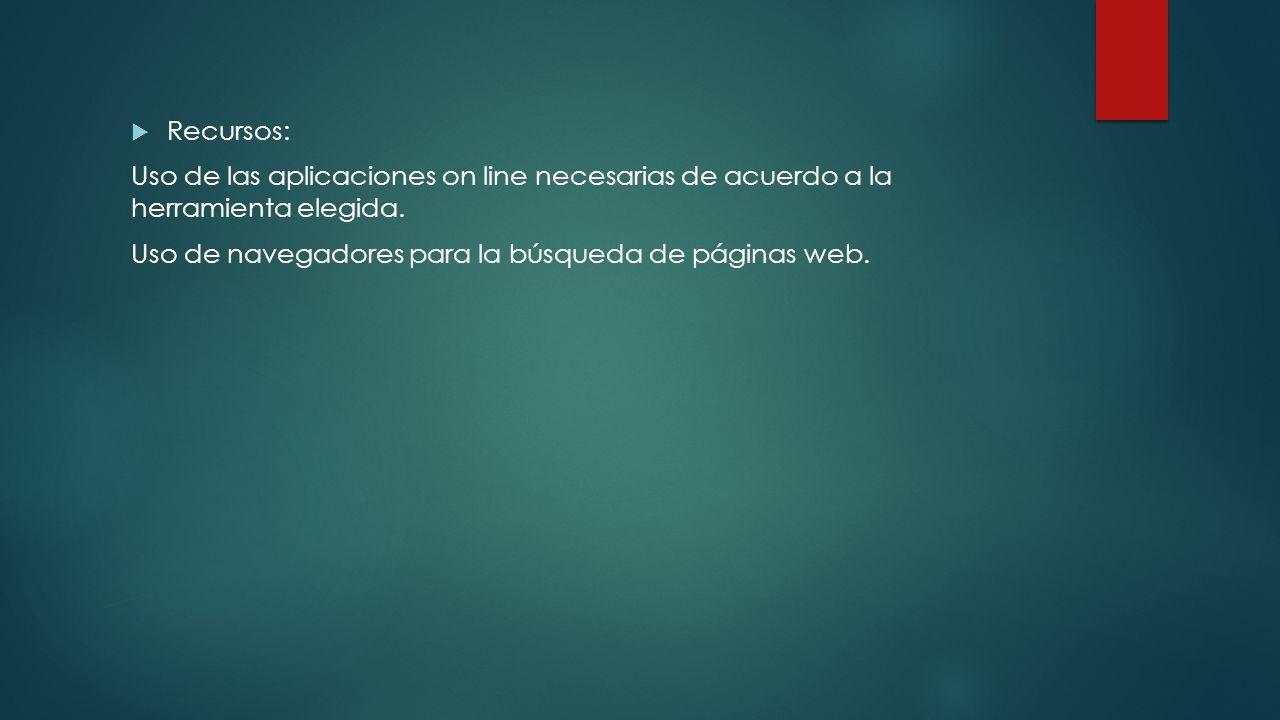 Recursos:Uso de las aplicaciones on line necesarias de acuerdo a la herramienta elegida.