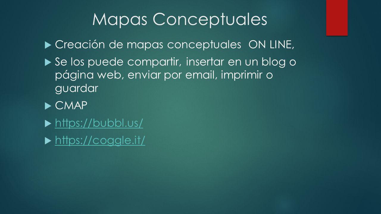 Mapas Conceptuales Creación de mapas conceptuales ON LINE,