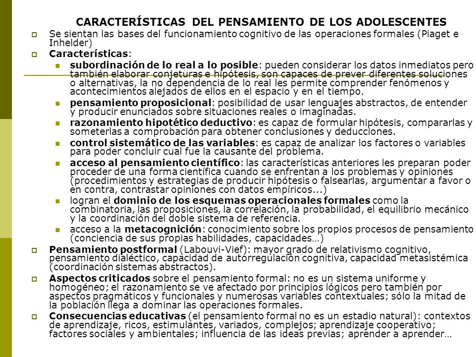 CARACTERÍSTICAS DEL PENSAMIENTO DE LOS ADOLESCENTES