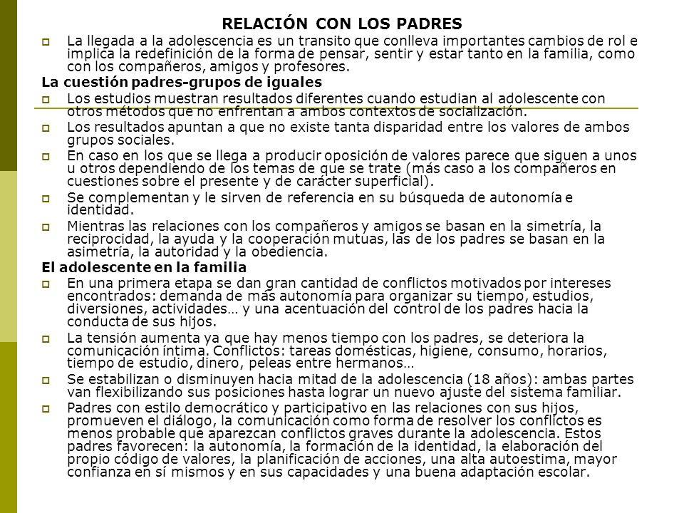 RELACIÓN CON LOS PADRES