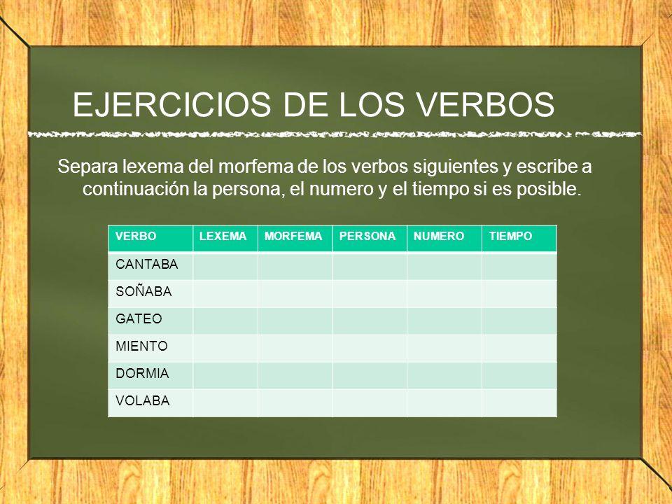 EJERCICIOS DE LOS VERBOS