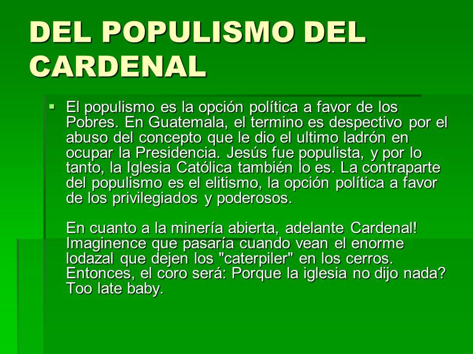 DEL POPULISMO DEL CARDENAL