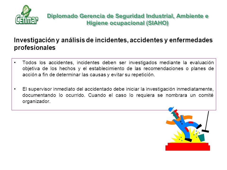 Investigación y análisis de incidentes, accidentes y enfermedades profesionales