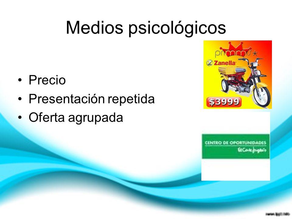 Medios psicológicos Precio Presentación repetida Oferta agrupada