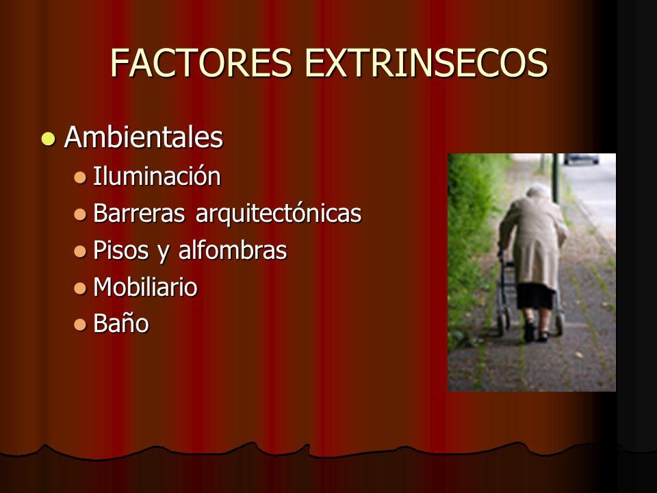 FACTORES EXTRINSECOS Ambientales Iluminación Barreras arquitectónicas