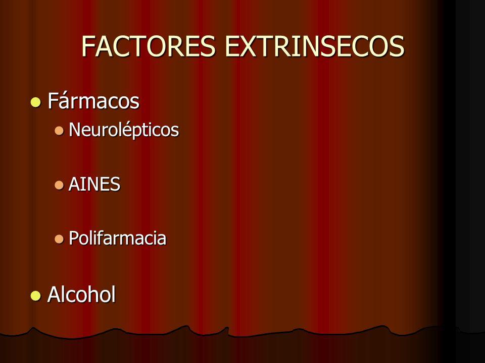 FACTORES EXTRINSECOS Fármacos Neurolépticos AINES Polifarmacia Alcohol