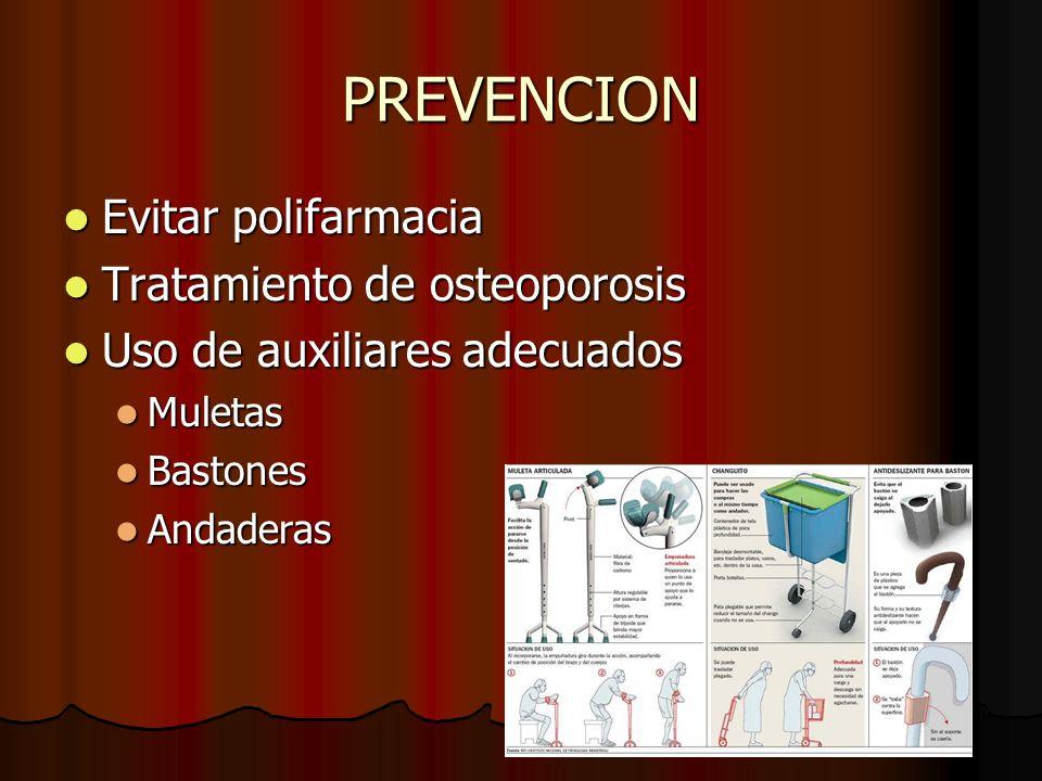 PREVENCION Evitar polifarmacia Tratamiento de osteoporosis