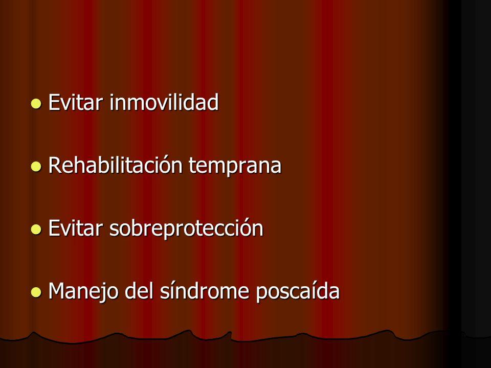 Evitar inmovilidad Rehabilitación temprana Evitar sobreprotección Manejo del síndrome poscaída