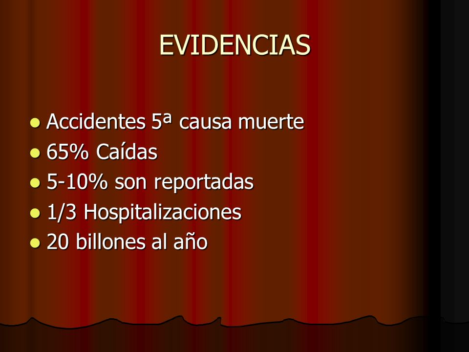 EVIDENCIAS Accidentes 5ª causa muerte 65% Caídas 5-10% son reportadas