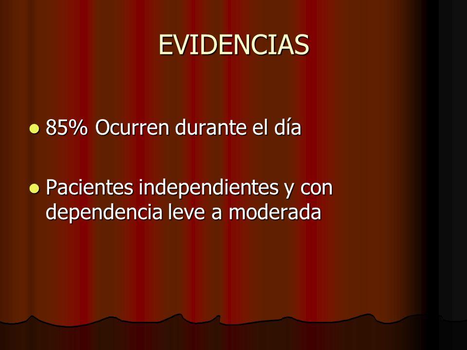 EVIDENCIAS 85% Ocurren durante el día
