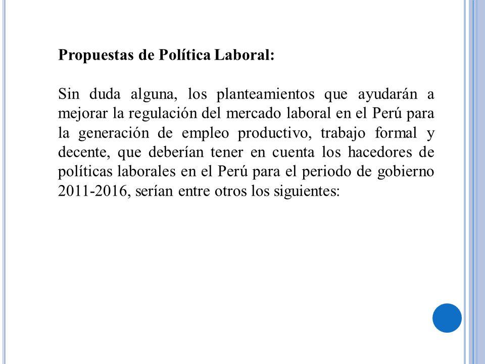 Propuestas de Política Laboral: