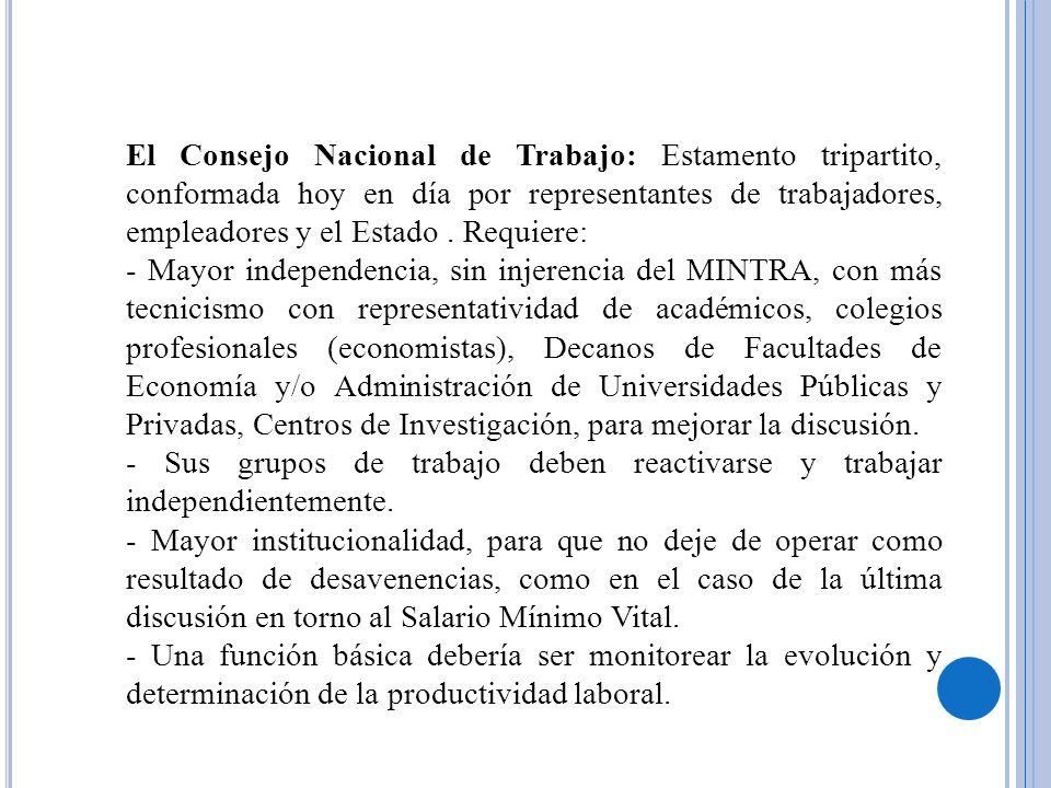 El Consejo Nacional de Trabajo: Estamento tripartito, conformada hoy en día por representantes de trabajadores, empleadores y el Estado . Requiere: