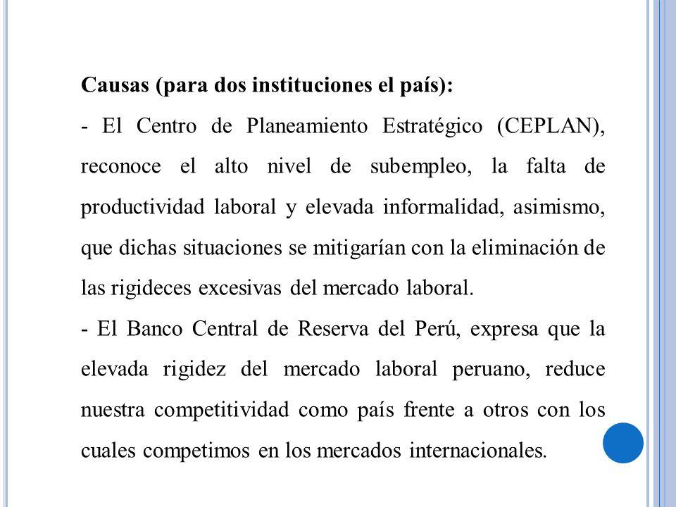 Causas (para dos instituciones el país):