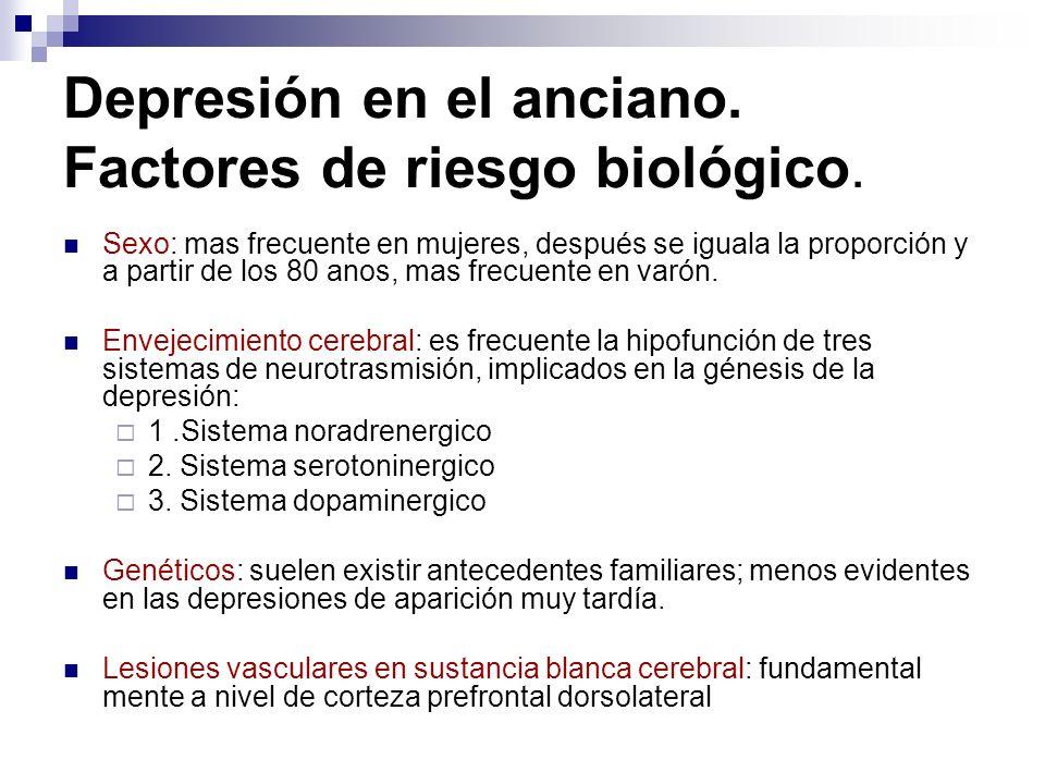 Depresión en el anciano. Factores de riesgo biológico.