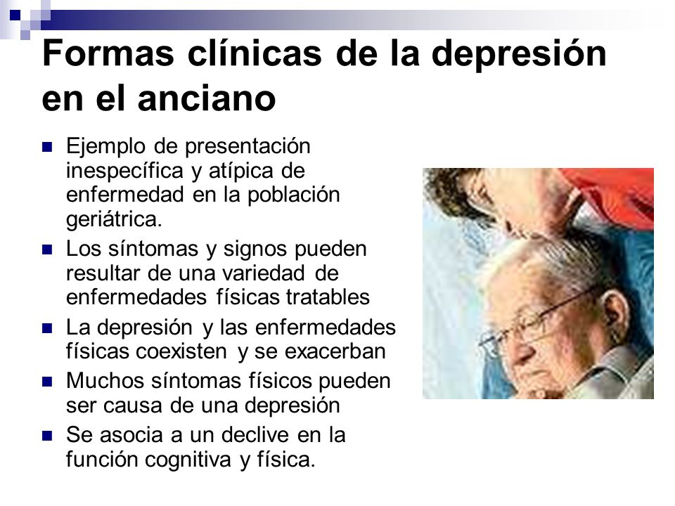 Formas clínicas de la depresión en el anciano