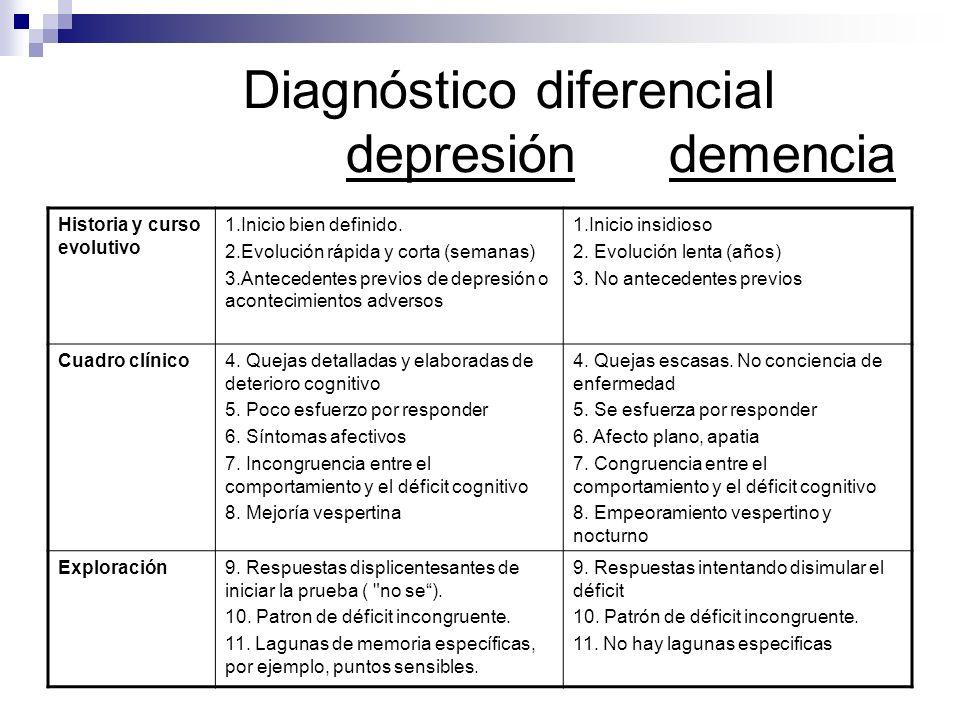 Diagnóstico diferencial depresión demencia